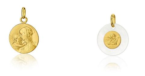 Médailles de baptême : Vierge à l'enfant et ange de Raphaël - SANCTIS